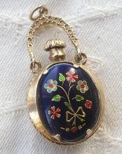 MINT Gold & Enamel Perfume Flask Antique Pendant Flowers