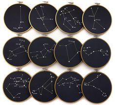 Displayed in this embroidery hoop is a fantastic representation of the Sagittarius Constellation. A selection of stars in this constellation