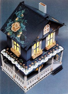 Tole painted toy box (Would make a nice pattern ((without the flowers on the roof IMHO)) for a glitter house)