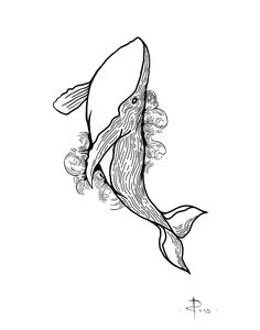 sketch fo tattoo by RUSS - whale - linework - Tattoos Tattoo Sketches, Tattoo Drawings, Body Art Tattoos, Art Sketches, Art Drawings, Whale Sketch, Whale Drawing, Mädchen Tattoo, Tattoo Linework