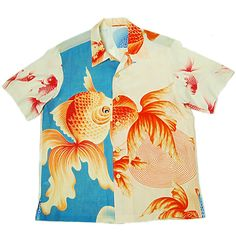 This Shirts is used many gold fish - Weird Shirts - Ideas of Weird Shirts - Gold fish crazy pattern Kimono Aloha Shirts. This Shirts is used many gold fish pattern. Boys Hawaiian Shirt, Vintage Hawaiian Shirts, Aloha Shirt, Bowling Outfit, Custom T Shirt Printing, Printed Shirts, Custom Shirts, Island Shirts, Look Street Style