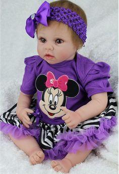 22'' Handmade realistic lifelike vinyl Baby Girl Doll Silicone Reborn Newborn  #Unbranded