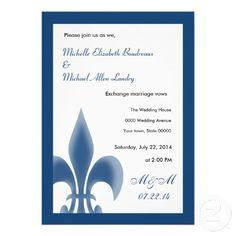 Dark Blue Fleur de Lis Wedding Card