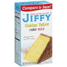 Jiffy: Golden Yellow Cake Mix, 9 Oz. For 12 cupcakes. It's real easy to mix up! Add one egg and 1/2 cup of water!