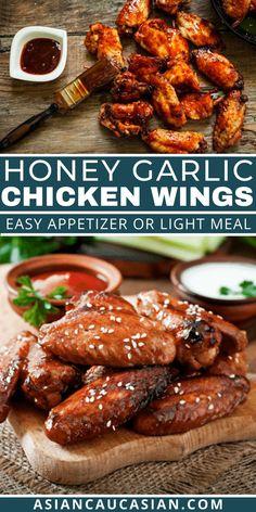 Easy Honey Garlic Chicken, Easy Chicken Wing Recipes, Honey Garlic Chicken Wings, Chicken Wing Sauces, Baked Chicken, Asian Dinner Recipes, Easy Asian Recipes, Entree Recipes, Summer Recipes