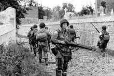 82nd Airborne troops in Sainte-Mere-Eglise, France.....D-day....June 6,1944