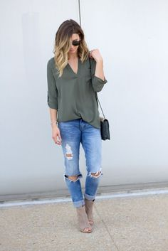 Love this color! Stitch fix spring 2016 Olive top distressed jeans nude booties