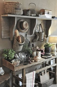 Vintage architectural salvage workbench makes a wonderful serving table.