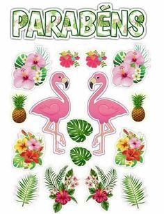 Topo de Bolo de Papel dos Flamingos para imprimir