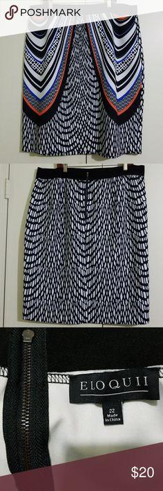 Printed Pencil Skirt Fantastic condition. Stretch. Back zipper. Elastic waistband. Colorful print. Eloquii Skirts Pencil