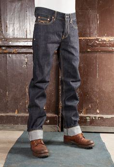 Cinch Back Dry Selvage Denim Shirt With Jeans, Cuffed Jeans, Dark Jeans, Jeans Pants, Jeans And Boots, Nudie Jeans, Denim Overalls, Edwin Jeans, Red Wing Boots