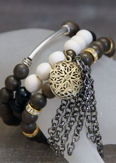 3-piece Stacker Brass Diffuser Locket Bracelet Set made with Silver, Wood, Brass and Gold tone beads with Swarofski Crystals