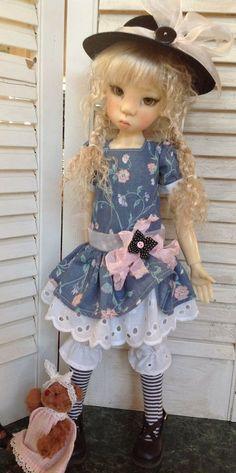 Drop waist dress set with teddy bear~Fits Kaye Wiggs Miki and Talyssa~by DCH