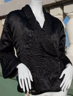 Vintage cardigan jacket coat with quilted floral of embroidered black silk by Bonwit Lenonn circa 1920s from Recursive Chic @ RecursiveChic.com
