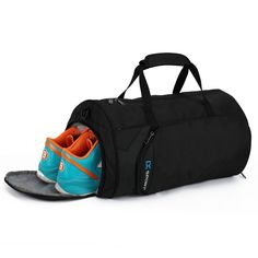 Fitness Sport Small Gym Bag with Shoes Compartment Waterproof Travel Duffel  Bag for Women and Men - black - C1184GCUH5M fba79b7b1878d