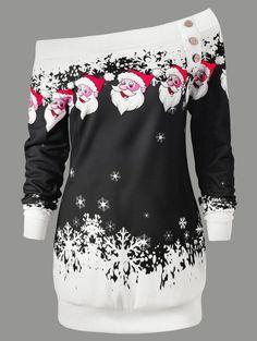 Skew Neck Santa Claus Snowflake Pullover Christmas Sweatshirt - BLACK L