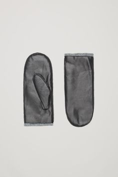 COS image 1 of Leather mittens  in Black