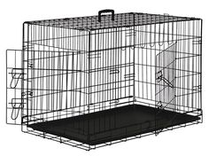 Black Dog Cage Crate Suitcase Folding Animal Kennel Pet Puppy Pen ABS Tray Pan 48 Inch XXL (XX-Large) 2-Door Cage / No Divider ** Find out more details by clicking the image : Dog kennels
