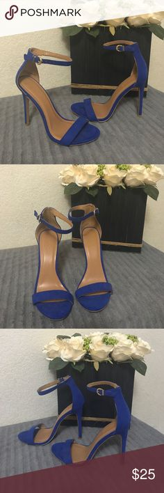 Blue strap heels Blue suede strapped heels  , size 7, brand new, and they're very sexy. Goes great with a dress, shorts, or slacks. Charlotte Russe Shoes Heels