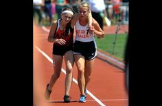 17-year-old Meghan Vogel helping her competitor to cross the finish line - Sportsmanship -