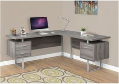 Computer Desk - / Dark Taupe Left Or Right Facing - Monarch Specialties and contemporary, this extra-long L shaped corner computer desk is the perfect combination of function, durability and design in a modern form. Finished in dark taupe Office Furniture Stores, Furniture Deals, Parks Furniture, Furniture Outlet, Online Furniture, L Shaped Corner Desk, L Shaped Office Desk, Corner Office, Small Office