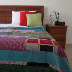 Vintage Kantha Multi Colour Patch Quilt / Bedspread   The Hues of India
