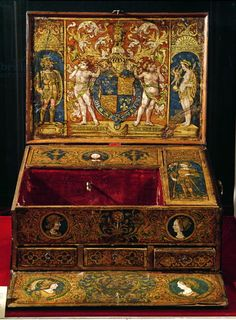 Writing box or table desk, probably painted by Lucas Hornebolte (c.1492-1544) c.1525-27 (walnut  oak with painted  gilded leather), belonging to King Henry VIII (1491-1547) showing the heraldic badges of Henry and his first wife, Katherine of Aragon and the royal coat of arms; covered with shagreen added in 18th century; figures of Mars, Venus and Cupid; head of Christ; St. George and the dragon; Catherine of Aragon