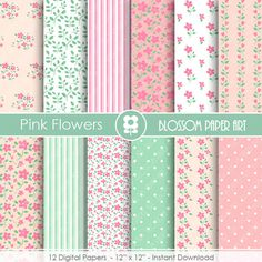 Floral Digital Paper Pink Shabby Chic Papers by blossompaperart