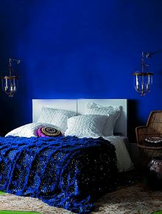 This will be my bedroom color.... it has been decided. Bristol Paint Majorelle Blue
