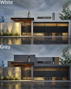White or gray? JH House visualized by @ gallardo. - Home Decor House Architecture Styles, Architecture Design, Conception Villa, Luxury Concierge Services, Small Country Homes, Floor Plan Layout, House Elevation, Villa Design, City Buildings