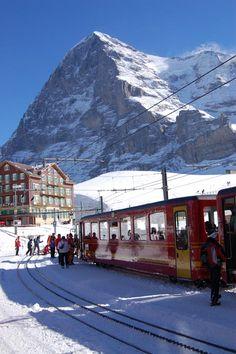 """view of Eiger from """"Kleine Scheidegg"""", Switzerland."""