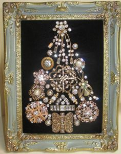 Jeweled Framed Christmas Tree Vintage Gold Tone by audreymivey