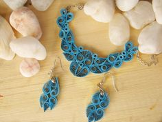 First Wedding Anniversary gift Blue Paper Necklace and by SbirOtak