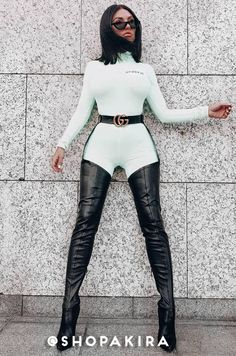 Sexy thigh high stiletto boots in a stretchy PU fabrication. By AZALEA WANG. Belt Thigh High Boots, Thigh High Boots Heels, Stiletto Boots, Hot High Heels, High Heeled Boots, Womens Thigh High Boots, Women's Heels, Strappy Heels, Ankle Boots