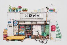 Les-dessins-de-boutiques-a-l-encre-acrylique-de-Me-Kyeoung-Lee-2