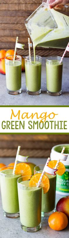 Mango Green Smoothie made with collagen beauty greens to help you look and feel good from the inside out.