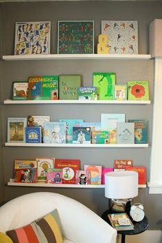 DIY Book Ledges: This mod nursery's book ledges, which display a selection of baby books and art created from framed vintage scarves, were built by the little inhabitant's dad and grandpa.  Source: Project Nursery