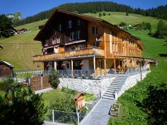 Esther's Guesthouse Gimmelwald - Home comfortable but more simple than Olle's in the area. Recommended by Elise, shared bath Bed & Breakfast, Web Design, Switzerland, Cabin, Bath, House Styles, Simple, Home Decor, Design Web
