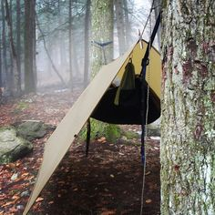 NVRDONE rockin' the Bushcraft USA 10x10 coyote tarp with a hammock #bushcraft… …
