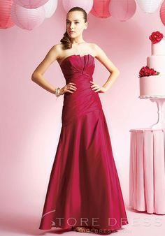 Fashionable A-Line Sweep/Brush Train Halter Bridesmaid Dress at Storedress.com
