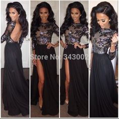 2015 High Popular Black High Neck Applique Backless Prom Dresses With High Slit Long Sleeves Custom Made Party Grown