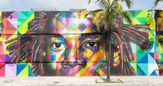 A riotous portrait of Basquiat by Brazilian artist Eduardo Kobra. Photograph by Claudia Uribe. #FijiWater #Contest