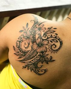 Custom freehand design by Marlo - maori tattoos Tribal Tattoo Designs, Tribal Flower Tattoos, Polynesian Tribal Tattoos, Tribal Tattoos For Women, Tribal Shoulder Tattoos, Shoulder Tattoos For Women, Samoan Tribal, Feminine Shoulder Tattoos, Abstract Tattoos