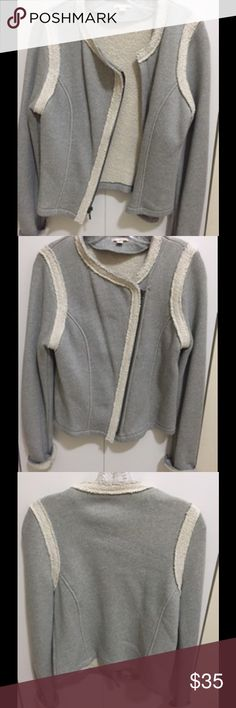 Gap grey cotton jacket Grey jacket with off white hem detail, off center zip, great condition..never worn GAP Jackets & Coats