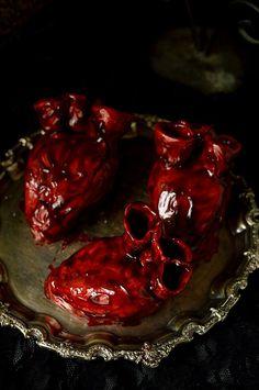 Realistic bleeding heart cakes