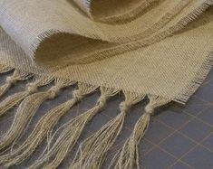 Burlap Tablecloth with Fringe and Satin Ribbon - DIY and Crafts Burlap Projects, Burlap Crafts, Diy And Crafts, Burlap Ribbon, Diy Ribbon, Burlap Baby, Burlap Tablecloth, Tablecloths, Burlap Table Runners