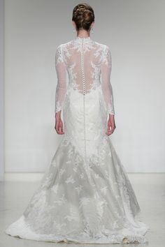"""THE FANTINE GOWN Model walks runway in a bridal gown from the #MatthewChristopher 2015 """"A Reflection of Inspiration"""" bridal collection, by Matthew Christopher, during New York Bridal Market Week Spring 2015. #BridalMarket Copyright Shawn Punch Photography"""