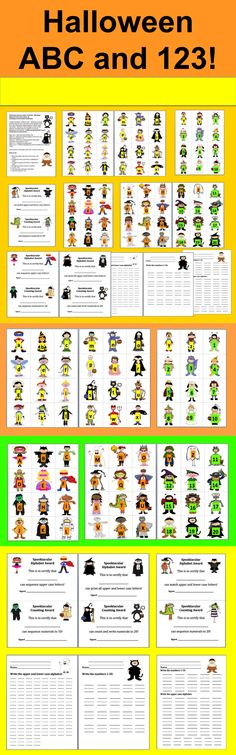 FREE!  Halloween Literacy Center Activities –Matching Upper and Lower Case Letters and Counting to 20 and Award Certificates - 14 Page Download - 4 Ways to Play  - 72 different Halloween Costumes in All  -  Halloween costume graphics with the lower case letters of the alphabet match up to other Halloween costume graphics with the upper case letters.   Numbers 1-20 to arrange in order.  Optional recording sheets for students to write the alphabet and the numbers.