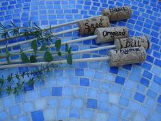 Wine Cork Herb Plant Markers by SecretGardenHerbs on Etsy. $10.00 USD, via Etsy.
