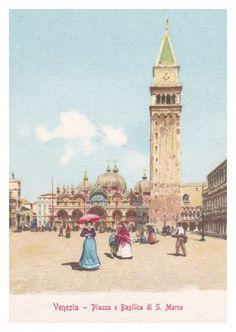 Illustration vintage Grußkarte Venedig